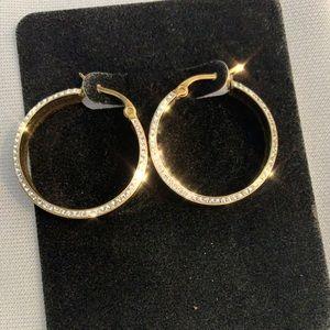 """Swarovski gold plated hoop earrings 3/4"""""""